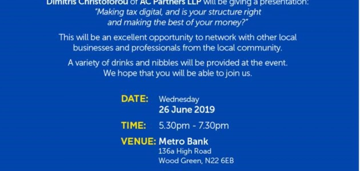 """Making Tax Digital"" Business Network Evet in Metro Bank  Wood Green,"