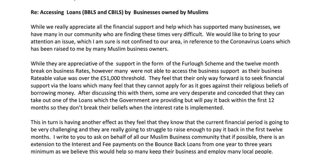 The BID writes to the Secretary for Business on behalf of the Muslim Business Community