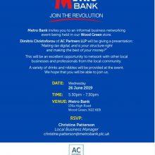 """Making Tax Digital"" Business Network Evet in Metro Bank  Wood Green,"