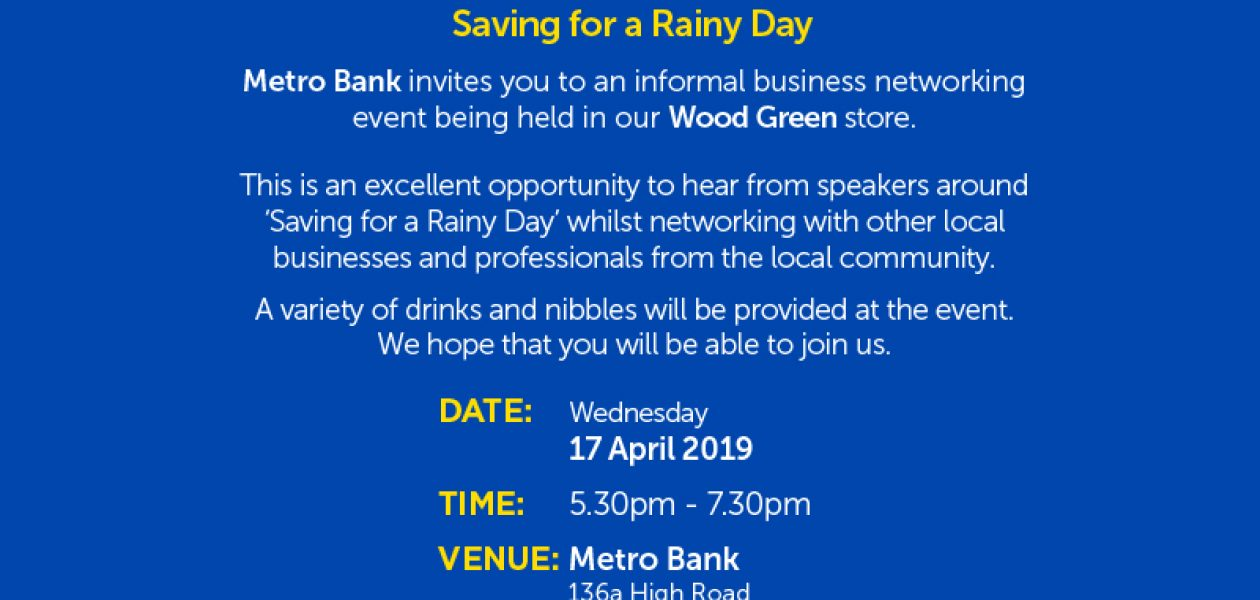 """""""SAVING FOR A RAINY DAY"""" Business Network Event"""